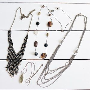 Jewelry - Statement Necklace Set Bundle- Pendant Stone Chain